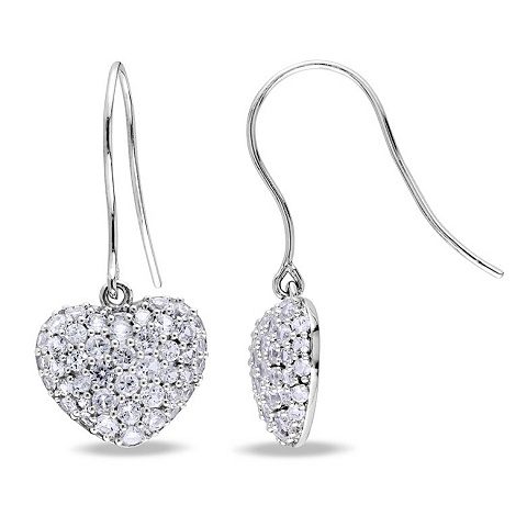 Silver and White sapphire earrings